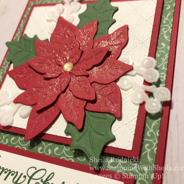 poinsettia petals, wink of stella, handmade cards